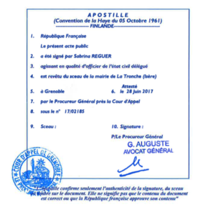 Apostille from france