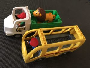 lego duplo bus and zoo truck