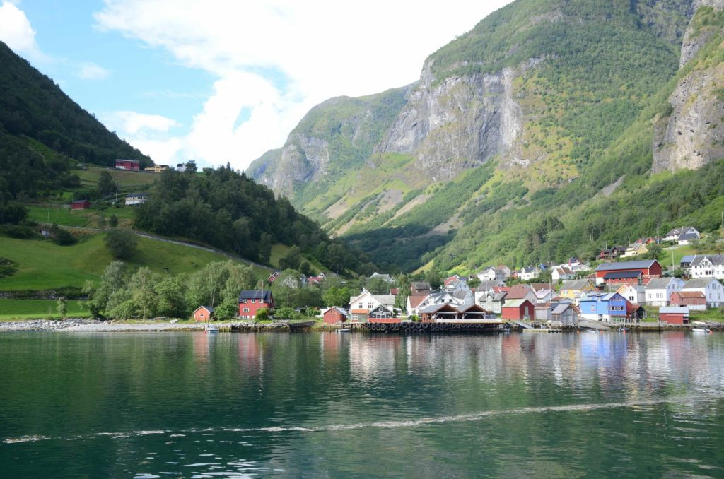 fishing town along fjord