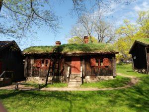 屋根に草の生えたお家
