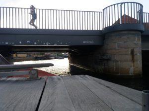 運河ツアーは低い橋の下をくぐり抜ける