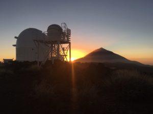 Teide山天文台の日の入り