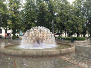 土砂降りの中の噴水