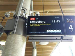 オスロ中央駅にいく電車