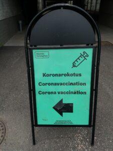 ワクチン接種会場の看板